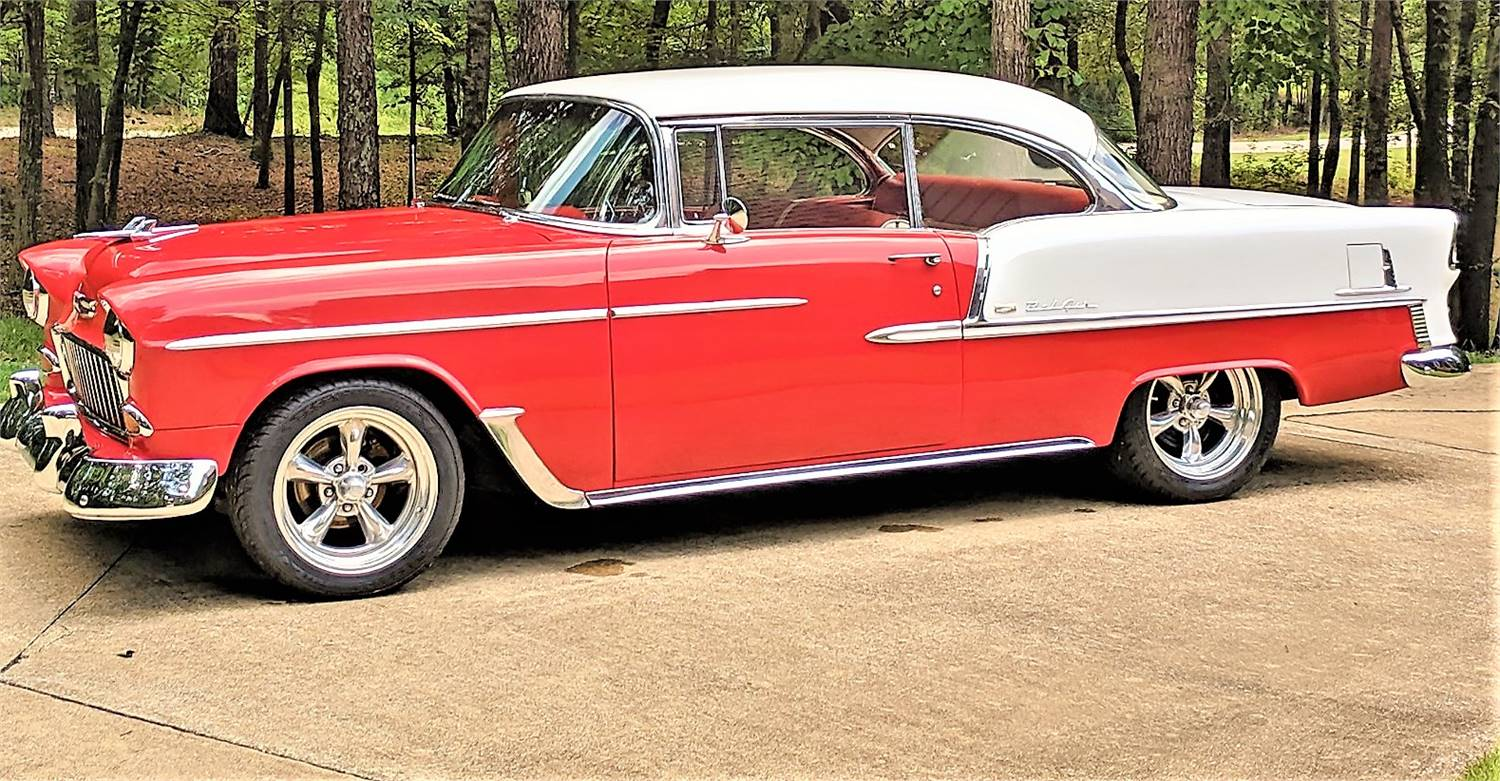 For Sale 1955 Chevrolet Bel Air 2 Door Hardtop, Show Driver Red/White  327 V8 with Dual Quads