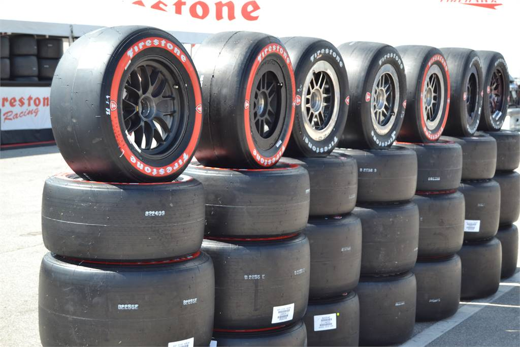 NEW GOODYEAR INDY CAR RED AND BLACK TIRES READY TO RACE